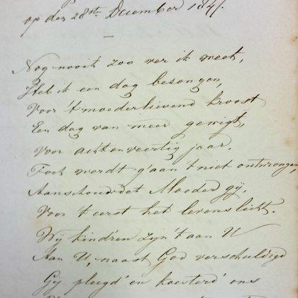 1847: eerste dichtwerk voor zijn moeder