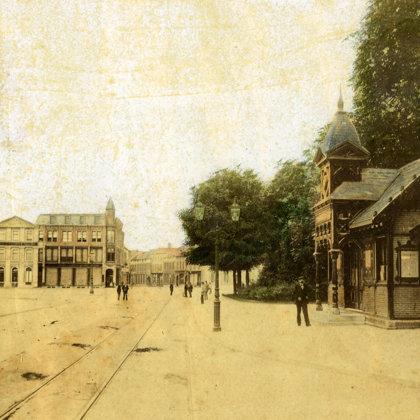 1827: Het witte geboortehuis van Cremer aan de Roggestraat.