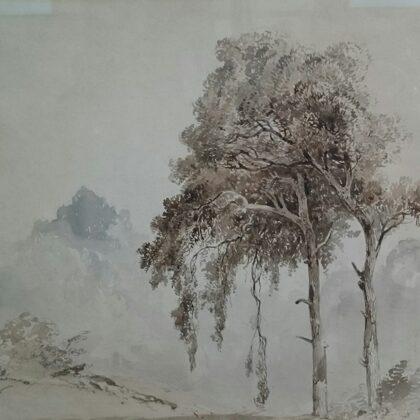 Boslandschap Twee bomen. Ongedateerd.