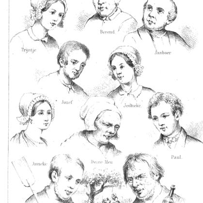 De Betuwsche novellen. Tekeningen van personages uit 1856.