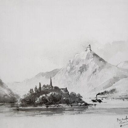 Gezicht op de Rijn met de Drachenfels. 1853