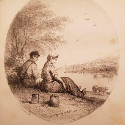 'T Kriekende kriekske. tekening bij de novelle uit 1857.