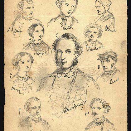 Personages bij de novellen Portretten en Kees Springer uit 1858.