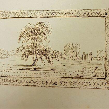 1853 Tekening van het schilderij dat Cremer maakte van het graf van mw. Verstege.